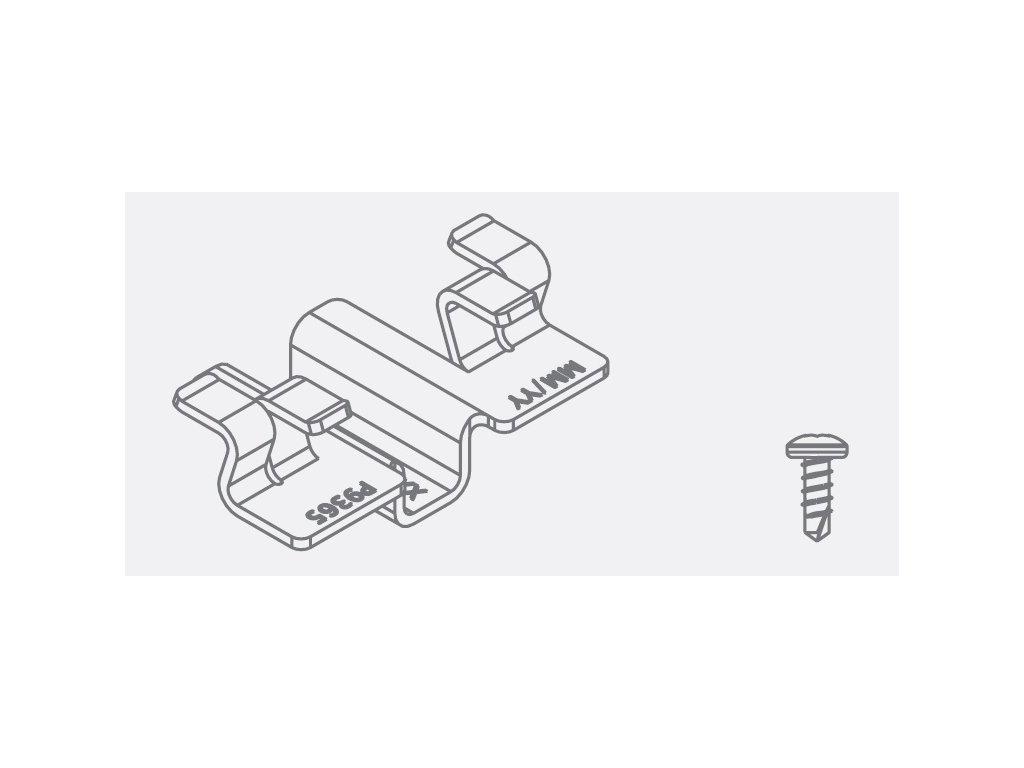 Bal nerez spona P9365 a skrutka P9367 pre Al podkladové profily