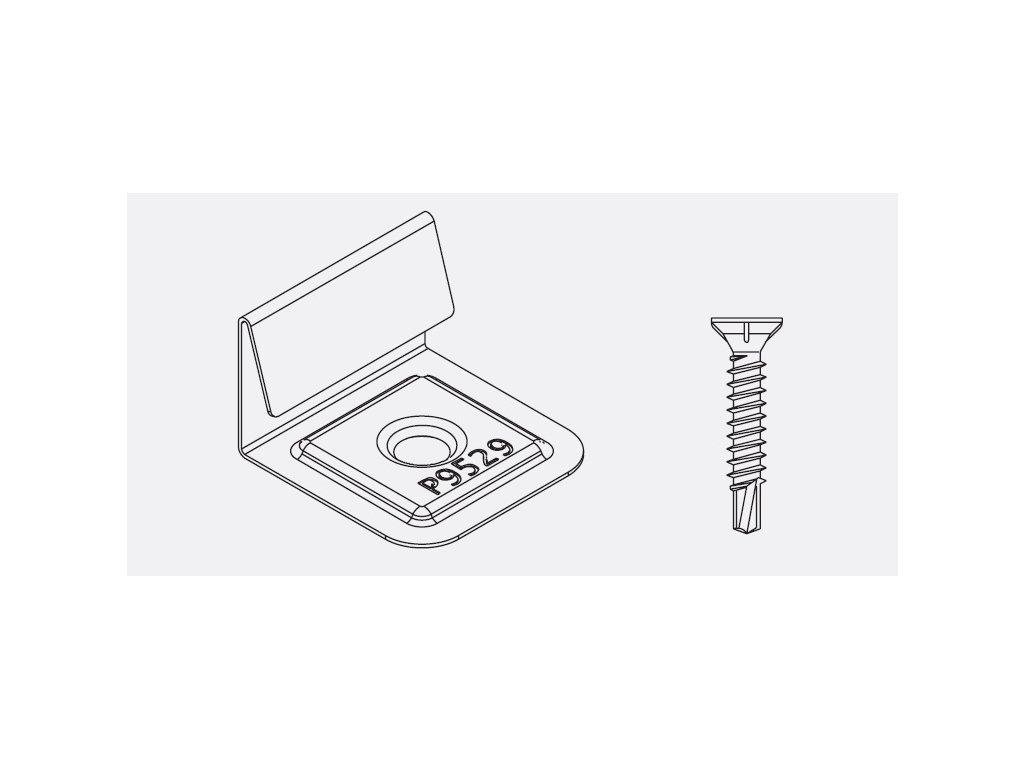 Počiatočná a koncová nerez spona pre podklad profil twinson a skrutka